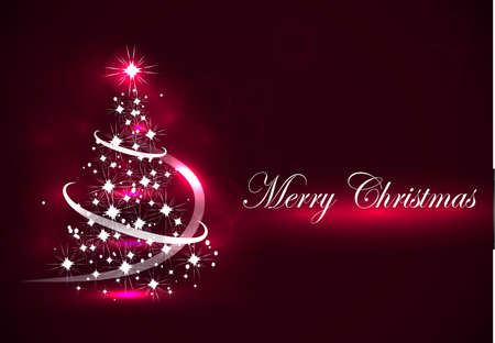Vector abstract dark background Christmas tree on red