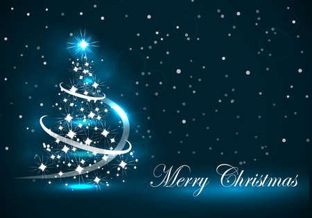Vector abstract dark background Christmas tree on blue