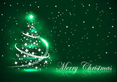 Vector abstract dark background Christmas tree on green