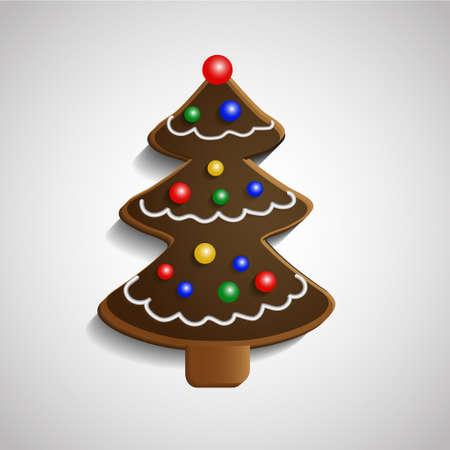 christmas tree decoration: Gingerbread chocolate Christmas tree with decorations isolated