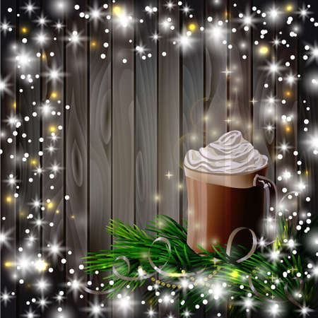 hot chocolate: Christmas  New Year design wooden background with hot chocolate and christmas tree