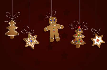 galletas de jengibre: El jengibre pan hombre �rbol y estrellas con decoraciones Cristmas fondo