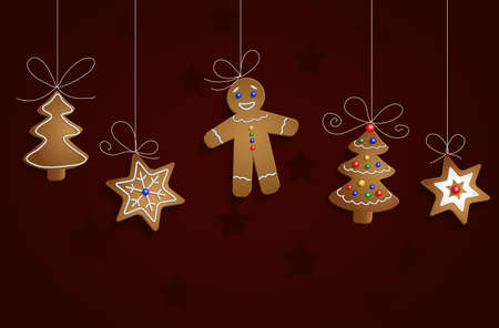 christmas cookie: Ginger bread man tree and stars with decorations Cristmas background