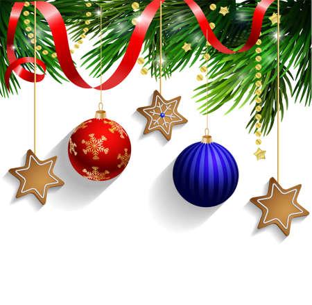 Lebkuchen Dekorationen auf einen Weihnachtsbaum mit Band
