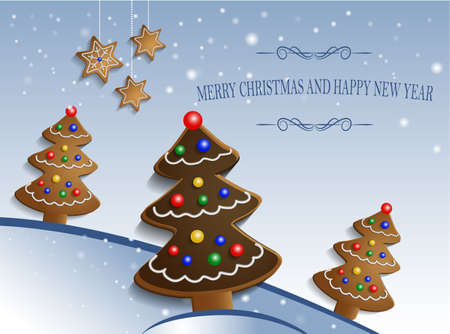 christmas cookie: Ginger chocolate trees on snow background with decorations and stars