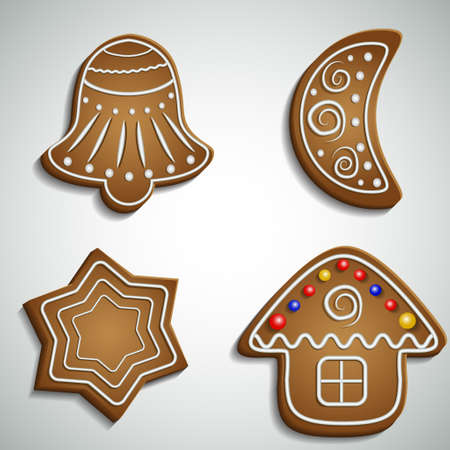 ginger bread: Ginger bread bell half moon and house with decorations