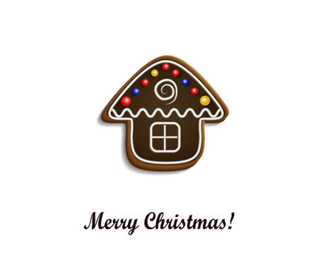 christma: Gingerbread  chocolate house on white Merry Christma card Illustration
