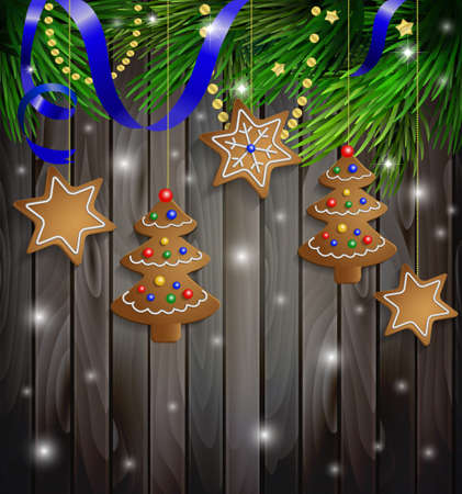 gingerbread cookies decorations on a Christmas tree with ribbon on a wooden wall 向量圖像