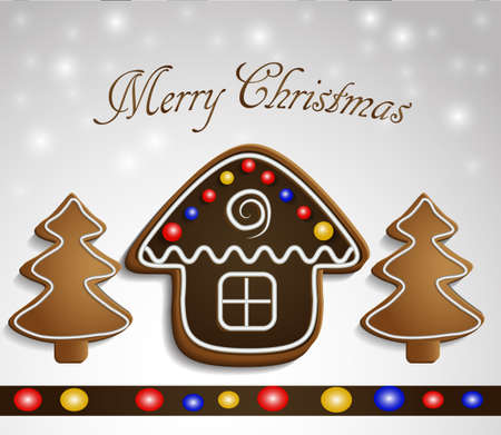 Gingerbread trees and chocolate house on snow background with decorations christmas card Stock Photo