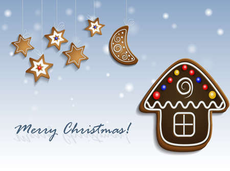 Gingerbread stars half moon and chocolate house on snow background with decorations christmas card