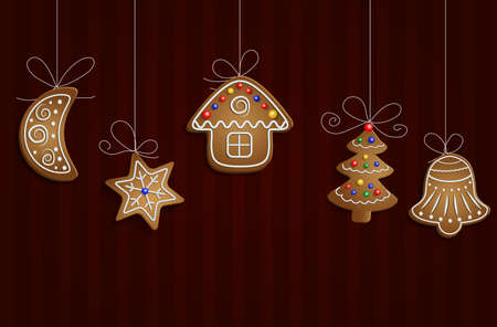 Gingerbread man tree bell half moon and stars with decorations Cristmas background Illustration