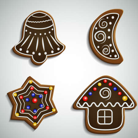 Ginger bread bell half moon and house with decorations chocolate