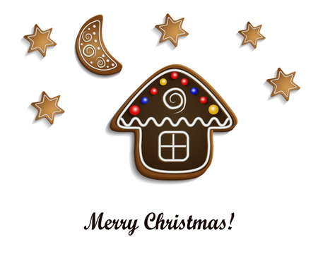 half moon: Gingerbread  chocolate house with stars and half moon