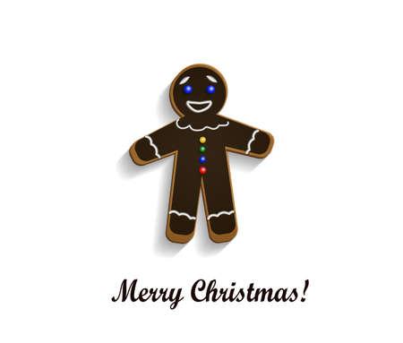 christma: Gingerbread  chocolate man on white Merry Christma card