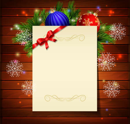 christmas list: Christmas background with paper ribbon and lights on a wood wall and decorations Illustration