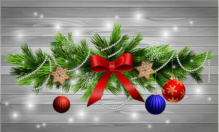 christmas backdrop: Christmas decoration  with evergreen trees  with balls gingerbread on wood background Stock Photo
