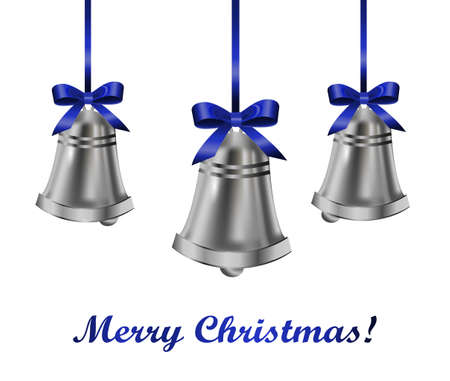 silver bells: Silver bells with blue bow on a white background. Vector illustration