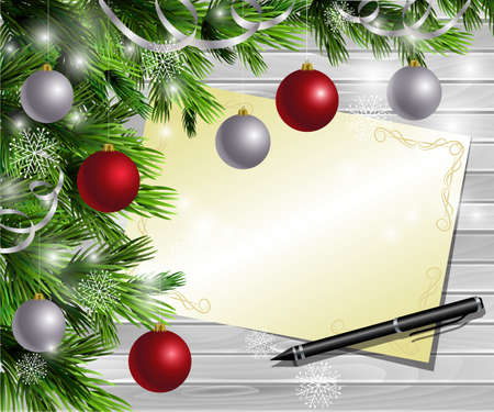 wish list: Christmas  New Year design light wooden background with christmas tree and silver and red balls and wish list and pen