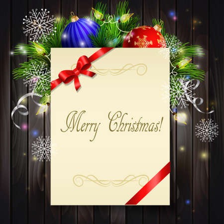 Christmas background with paper ribbon and lights on a dark wood wall and decorations Illustration