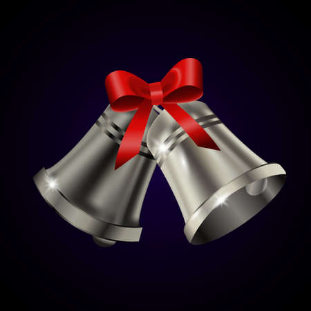 Silver bells with red bow on a blue background. Vector illustration