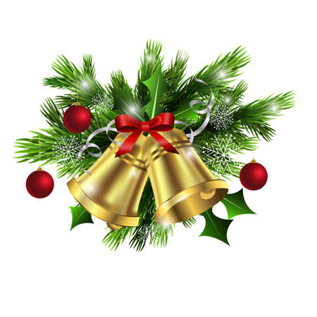 Christmas decoration  with evergreen trees and bells with balls Imagens - 48838170
