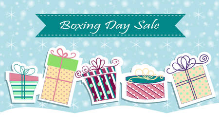 boxing day sale: Christmas sale poster sign design. Vector illustration Boxing day Illustration
