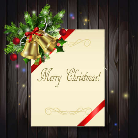 write letter: Christmas background with paper ribbon gold bells and lights on a dark wood wall and decorations