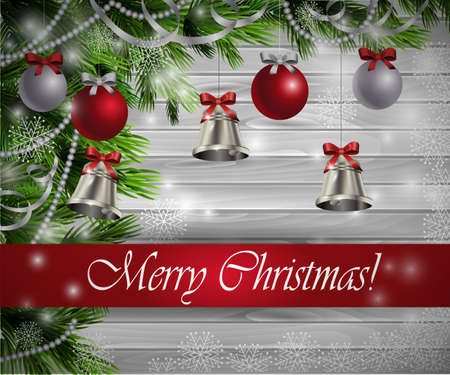 silver bells: Christmas  New Year design light wooden background with christmas tree silver bells decorations and red silver balls Stock Photo