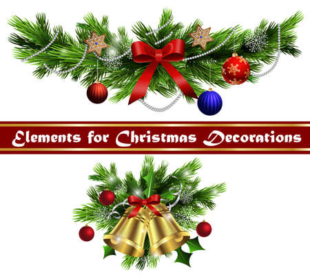 decoration: Christmas decoration  with evergreen trees bells   and  with balls Illustration