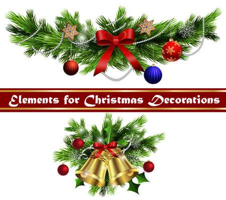 Vánoční dekorace s jehličnatými stromy zvony a s míčky