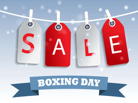boxing day sale: Snow sale tag hangig red and white boxing day
