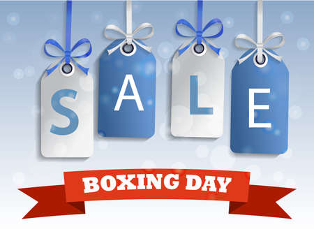 boxing day sale: Snow sale tag hangig blue and white boxing day Illustration