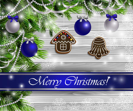 Christmas  New Year design light wooden background with christmas tree gingerbread decorations andblue silver balls 矢量图像