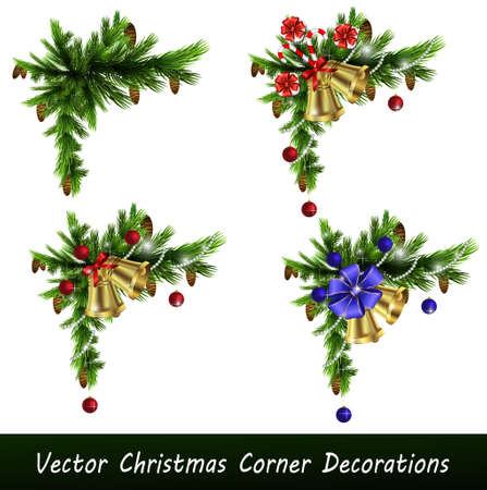Set of Cristmas corner decorations isolated on  white Çizim