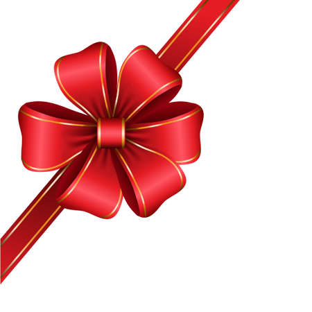 isolated: red gift bow with ribbon isolated Vector