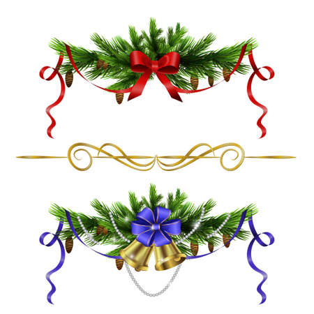Christmas decoration  with evergreen trees bells   and  with balls isolated