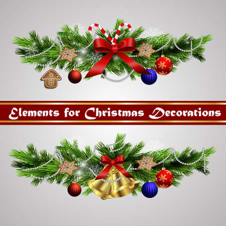 prickly fruit: Christmas decoration  with evergreen trees bells   and  with balls Illustration