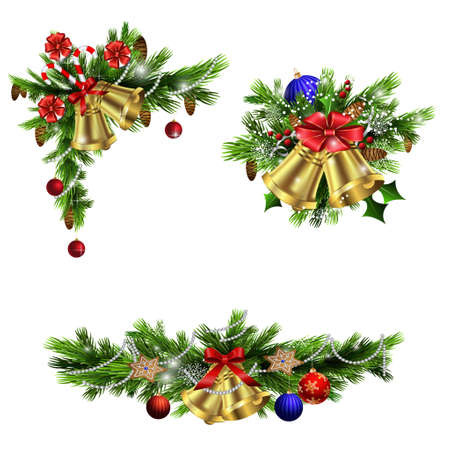 Christmas decoration  with evergreen trees bells   and  with balls Vectores