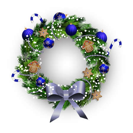 felicitation: White card with Christmas wreath and bow isolated on white
