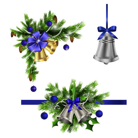 Christmas decoration  with evergreen trees bells   and  with balls blue Vectores