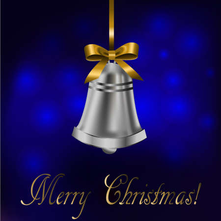 Jingle bell with gold bow on a blue background.