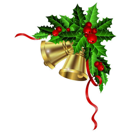 Christmas gold bells holly ribbon and berries Vectores
