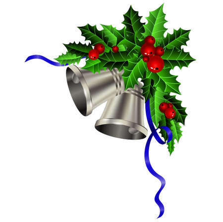 silver bells: Christmas silver bells holly ribbon and berries