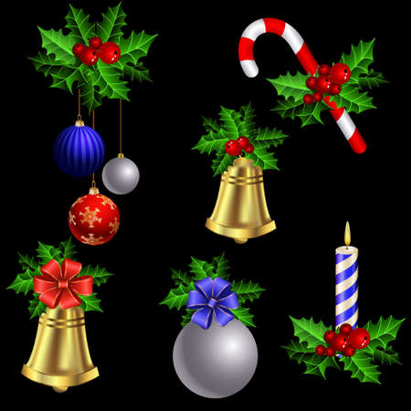 christmas decorations: Green Christmas garlands of holly with candy cane and bells elements for decorations on black