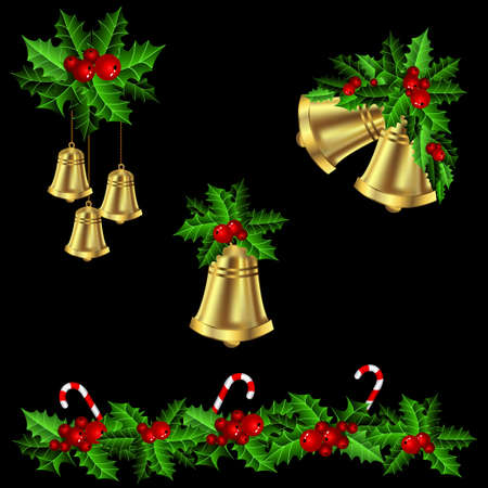 christmas decorations: Green Christmas garlands of holly with candy cane and bells elements for Christmas decorations on black Illustration