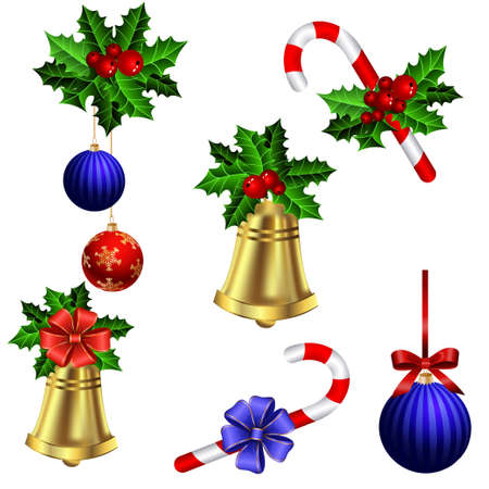 christmas decorations: Green Christmas garlands of holly with candy cane and bells elements for decorations