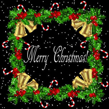 campanas: aislado Marco del acebo de la Navidad con el bastón de caramelo y campanas