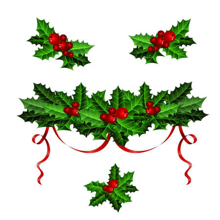 greeting christmas: Decorative elements with Christmas holly set isolated