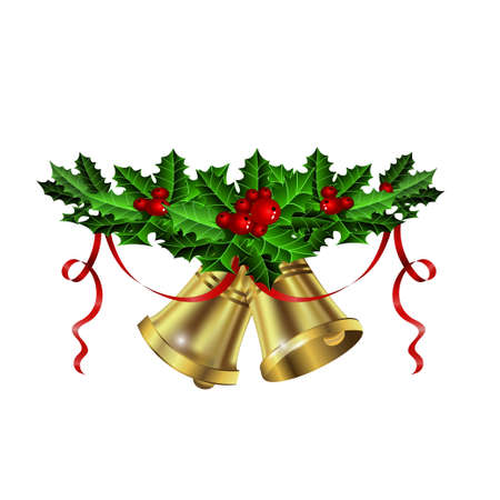 Christmas silver bells holly ribbon and berries