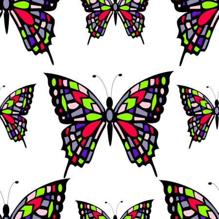 stained glass seamless pattern on white background